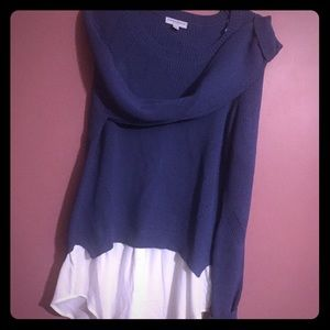 Katherine Barclay faux 2-in -1 Sweater blue